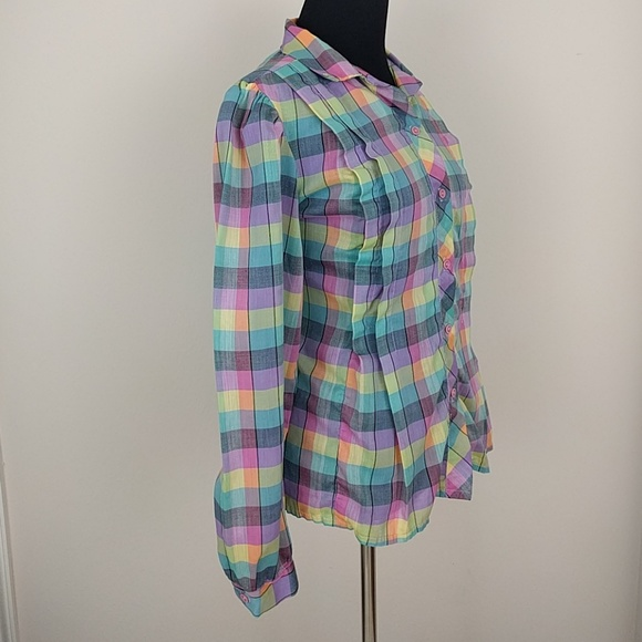 Vintage 1980s Impressions Geometric Print Blouse  Colorful Abstract Checkered Top